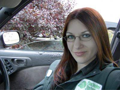 Me, in my dad's mail car while on break at school ^_^