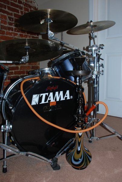 Two of my favorite things. My drums, and my hookah.